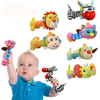 Wholesale Baby Toy Mirrors - Sozzy Baby Rattles Mirror Plush Handbells toys Cartoon Animal Stuffed Infant Toddler Hand Bell C1691