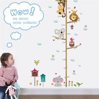baykuş oda dekoru toptan satış-Orman Hayvanlar Aslan Maymun Baykuş Fil Yükseklik Tedbir Duvar Sticker Çocuk Odaları Çocuk Büyüme Grafik Ev Dekor Duvar Sanatı