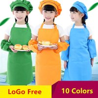 Wholesale kids baking aprons resale online - 10Colors Children Kids Apron Pocket Kitchen Cooking Baking Painting Cooking Art Bib Children Plain Apron Kitchen Dining Cleaning Protection