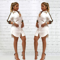 Wholesale Sleeved Knee Length Dresses - Womens Loose Deep V-Neck Casual Dress Sexy T Shirt Vintage Turn-down Collar Print Dress 2018 Spr Women Long Sleeved Button Night Club Dress
