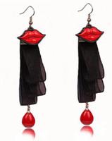 ingrosso merletto nero di modo coreano-Hot nuove coreano lungo pizzo nero nastro pizzo labbra orecchini ragazze pop accessori moda moda orecchini di design classico