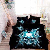 ingrosso skull bedding-Luxury Blue Skull Biancheria da letto Set Swords Criss-Cross Copripiumino Federa Copripiumino Trapunta Trapunta ropa de cama D30