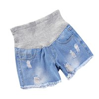 Wholesale pregnant woman belly - 2018 Summer Fashion Maternity Shorts Elastic Waist Belly Denim Shorts Clothes for Pregnant Women Hot Ripped Hole Pregnancy