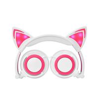 dibujos animados auriculares al por mayor-Auriculares de dibujos animados para niños Orejas de gato Montados en la cabeza Luminoso plegable Teléfono móvil Auriculares de música para el regalo de los niños