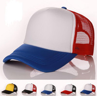 köpük kapaklar toptan satış-Boş Kamyon Şoförü Örgü Şapka Bahar Yaz Snapback Beyzbol Erkekler için Caps Düz köpük Net Yapış Geri Beyzbol Şapkası Kadınlar için Güneş Şapka 20 adet