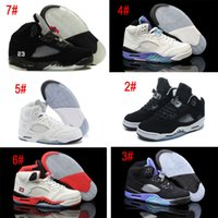 Wholesale Motion Basketball - Air Retro 5 Men Women Basketball Shoes Black Metallic Silver White Grapes Black Grapes Fire Red Oreo Classic Sports Trainers Sneakers