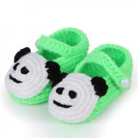 calcetines de los zapatos del bebé del ganchillo al por mayor-Walker para 1 par calcetín hecho a mano bebé crochet zapatos ocasionales de los bebés zapatos de bebé niñas de punto de lana linda cuna
