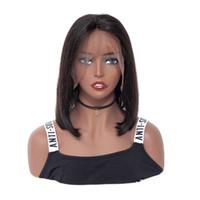 perruques naturelles et abordables achat en gros de-100% non transformés abordable remy vierge de cheveux humains de couleur naturelle moyenne moyenne droite perruque de lacet pour les femmes