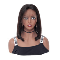Wholesale natural affordable wigs resale online - 100 unprocessed affordable remy virgin human hair natural color medium natural straight bob full lace wig for women