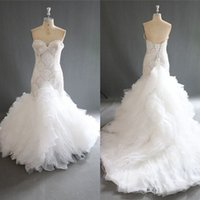 Wholesale Work Train - Amazing Mermaid Wedding Dresses 2018 Summer Beaded Sweetheart Bridal Gowns Lace Up Back Tiered Sweep Train Wedding Vestidos 100% Real Work