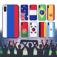 Wholesale uk iphone case - 2018 Russia FIFA World Cup National Team Flag Spain German Russian US UK Korea Shockproof TPU+PC Phone Case Cover for iPhone X 7 8 Plus 6 6S