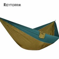 Wholesale nylon fabric yard - Lightweight Super Large Parachute Hammock 210T Nylon Fabric Hanging Hamac For Outdoor Camping Survival Beach Yard 320*200cm