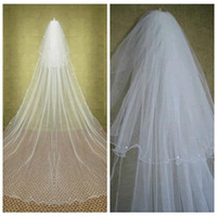 Wholesale hair tier - Elegant Two Tiers Layer Beaded Crystal Long Wedding Veils Cathedral Vintage Bridal Veils Bridal Hair Accessories With Comb Rhinestone Beaded