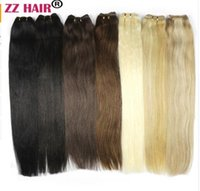 Wholesale mixed color clip weave resale online - 100g quot quot Machine Made Remy Hair Weft Weaving Human Hair Extensions Straight Natural Silk Non clips Hairs