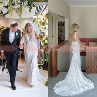 Wholesale inbal dror wedding - 2017 Summer Full Lace Bohemian Mermaid Wedding Dresses Inbal Dror Fashion Boho Wedding Dress Hot Sale Sexy Open Back Sheer Bridal Gowns