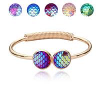 pulseira em forma de peixe venda por atacado-Famosa Marca de Jóias com Ouro / Prata Plsated Fish Scale Sereia Em Forma de Charm Bracelet Bangle para Mulheres Presente
