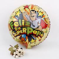 Wholesale metallic helium balloons resale online - Spanish Father Foil Balloon Round Helium Globos Feliz Super Papa Metallic Balloons For Father Day Party Decoration Props cx Z