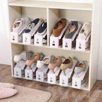 salas de rack venda por atacado-Sapato Racks 2019 Novo Plástico Sapateira Dupla Titular de Armazenamento Sala de Estar Conveniente Sapatos Shoebox Organizador Stand Prateleira