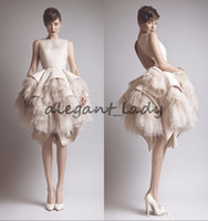 Wholesale Lavender Ostrich Feathers - Ashi Studio Crew Neck Keyhole Back Tiers Satin Short A-Line Evening Dresses Wit Ostrich Feather Prom Celebrity Gowns krikor jabotian