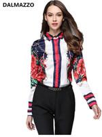blusas de oficina xxl al por mayor-Blusa de Trabajo de las mujeres 2018 Diseñador Nuevo Otoño de la Primavera de Manga Larga Turn-Down Collar de Impresión Oficina Casual Runway Camisas Feminina XL XXL