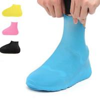 ingrosso donne in gomma gialla stivali-Copriscarpa impermeabile antiscivolo in gomma da 1 paio, stivale riutilizzabile da pioggia. Copriscarpa da moto per bici, giallo blu per le donne