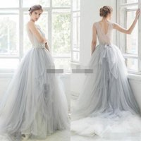 Wholesale Ombre Short Dress - 2018 Ombre Tulle Beach Wedding Dresses Lace Applique Beaded Scoop Neck Bridal Gowns Sleeveless Tiered Ruffles Sweep Train Wedding Dress