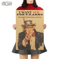 ingrosso carte da muro-TIE LER Vintage Poster Zio Sam Seconda Guerra Mondiale Recruit Kraft Paper Poster Wall Sticker Decor 51X36cm