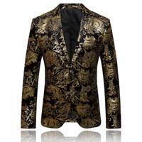 ingrosso ragazzi che indossano abiti rosa-All'ingrosso-oro giacca per gli uomini di marca di lusso floreale giacca formale giacca uomo ricamato blazer vintage vestito da ballo blazer cappotto casual Q51