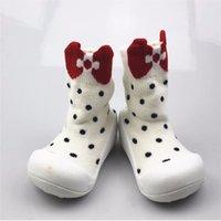 zapatillas de bebé calcetines al por mayor-Niño pequeño Caminante con puños con suela de goma Calcetines de algodón antideslizante Suave Stretch Knit Slippers LL965