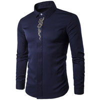 Wholesale office blouses collars - Vintage Men Shirt Floral Print Chinese Style Mature Man Office Shirts Dark Blue Male Blusa Wedding Wear 2018 Hot Sale Boy Blouse