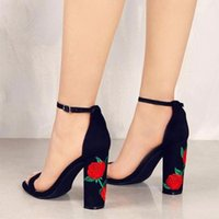 Wholesale Ethnic Sandals - 2017 Suede Shoes Woman Sandal Embroider High Heel Women Sandals Ethnic Flower Floral Party Shoes Plus Size Zapatos Mujer