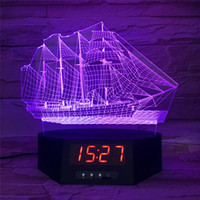 Wholesale Clock Factory - Long LED Base with Clock 7 RGB Lights IR Remote Slot for Acrylic Plate USB Powered Factory Wholesale 3D sailboat night light