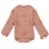 ropa de niña al por mayor-Rlyaeiz que hace punto el suéter de las muchachas grandes de las muchachas Color sólido 2018 abrigo del suéter de la borla de las muchachas jóvenes Ropa de los cabritos del otoño para el niño 4-11Y