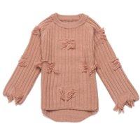 roupa jovem venda por atacado-Rlyaeiz Tricô Meninas Grandes Moda Camisola Cor Sólida 2018 Meninas Tassel Casaco Camisola Outono Roupa Dos Miúdos para 4-11Y criança