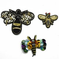 Wholesale Embroidery Sequin Patch - 20pcs Embroidery Golden sequin and beaded Bee Patch Sew On Patch Badge Fabric Applique DIY for clothes shoes bag