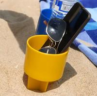 porta botellas de plástico al por mayor-Venta caliente de plástico Beach Cup Holder para vacaciones de verano bebidas botella iPhone llaves titulares envío gratis