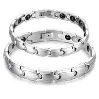 Discount titanium magnetic therapy bracelet - Mens Women Silver Tone Sleek Stainless Steel Magnetic Therapy Bracelet Power Health Care Jewelry Couples Bracelet for Him and Her
