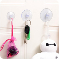 Wholesale Suction Wall Hangers - Wholesale- New 10Pcs Pack Transparent Wall Hooks Hanger Kitchen Bathroom Suction Cup Suckers free shipping