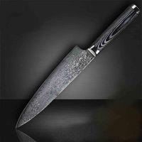 facas de damasco de qualidade superior venda por atacado-Faca de Cozinha de Aço Inoxidável Damasco Top-Rank Melhor Qualidade Cozinhar Ferramentas Com Cor De Madeira Handle
