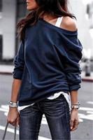 mujeres holgadas sudaderas al por mayor-Suéter de manga larga para mujer Camisa holgada de gran tamaño informal con hombros descubiertos Sudadera holgada DHL holgada Túnica suelta Camiseta Blusa