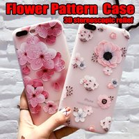 Wholesale flower case for iphone - 2018 Nwe Flower Case Soft Silicone Back Cover Phone Cases for iPhone X 7 8 Plus 6S Plus
