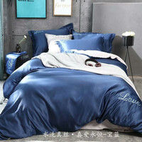 Wholesale Green King Size Quilt Sets - Embroidery Jacquard Luxury Bedding Set Queen King Size Stain Bed Set 4pc Pure Silk Lace Duvet Cover Sets Bedsheet Home Textile Quilt Cover