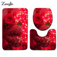 Wholesale pvc room floor mat for sale - Group buy Zeegle Rose Printed Bath Mats Toilet Set Rugs Non slip Bathroom Carpet Set Toilet Mats Lid Cover Shower Room Floor Mats