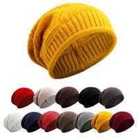 Wholesale oversized hats resale online - Warm Women Winter Caps Soft Wool Knitted Hat Oversized Slouchy Beanie Hat Men Fashion Solid Crochet Skullie Beanies Cap