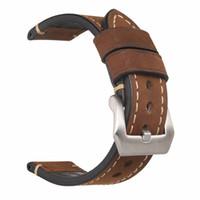 fivela de aço inoxidável artesanal venda por atacado-Atacado-Handmade Genuine Leather Watch Band Strap para P Assista 20mm 22mm 24mm 26mm Com Fivelas De Aço Inoxidável de Prata