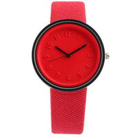 simple casual dress al por mayor-TOP Unisex Diseño Simple Relojes Deportivos Moda Hombres Mujeres Reloj de Cuarzo Cinturón de Lona Casual dress Reloj de Pulsera Color Caramelo Relogio A582