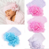Wholesale baby girl bonnet flowers online - lovely newborn baby girls big flower hats stripe caps winter infant knitted hat beanie crochet bonnets