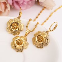 Wholesale girls big gold pendant for sale - 14k Yellow Fine Gold filled big Flower Blossom set women girls Jewelry Pendant Chain Earrings Bride Wedding Flower Bijoux gift