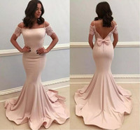 Wholesale trumpet bowknot - 2018 Blush Pink Satin Mermaid Prom Dresses With Bowknot Short Sleeves Formal Party Gowns Floor Length Backless 2017 Pageant Evening Dress