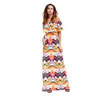Wholesale plus size hippie clothing resale online - 2018 Summer Dress Beach Hippies Styles Fashion Clothing Womens Beachwear Dress Long Summer Slash Neck Ruffle Plus Size Party Dress Bohemian